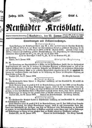 Neustädter Kreisblatt vom 23.01.1879