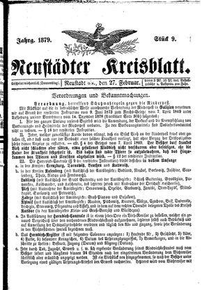 Neustädter Kreisblatt vom 27.02.1879