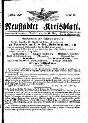 Neustädter Kreisblatt vom 06.03.1879