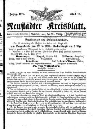 Neustädter Kreisblatt vom 20.03.1879