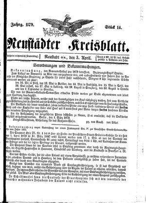 Neustädter Kreisblatt vom 03.04.1879