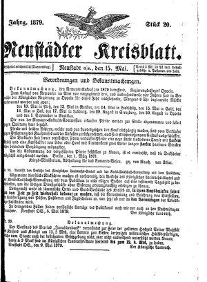 Neustädter Kreisblatt vom 15.05.1879