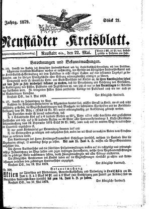 Neustädter Kreisblatt vom 22.05.1879