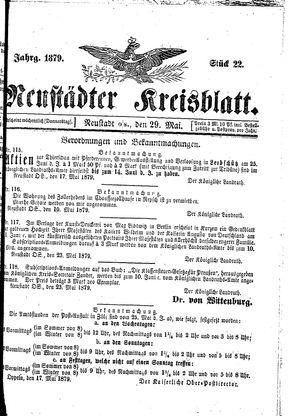 Neustädter Kreisblatt vom 29.05.1879