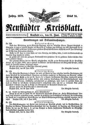Neustädter Kreisblatt vom 12.06.1879