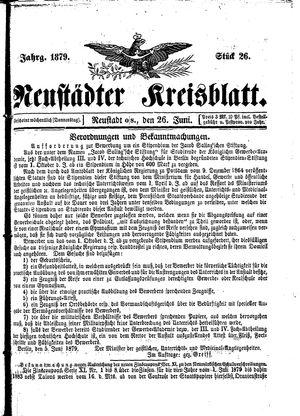 Neustädter Kreisblatt vom 26.06.1879