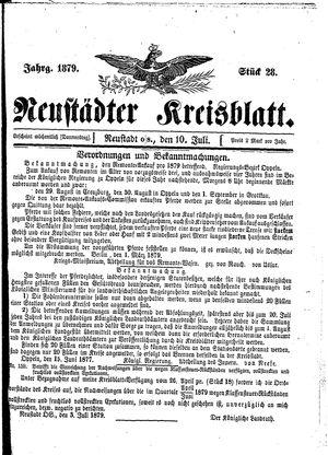 Neustädter Kreisblatt vom 10.07.1879