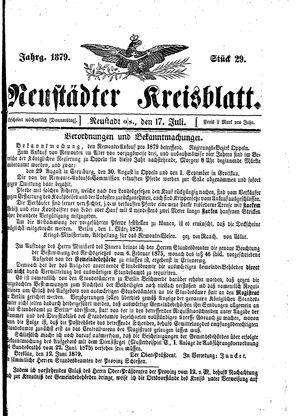 Neustädter Kreisblatt vom 17.07.1879