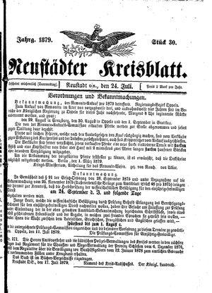 Neustädter Kreisblatt vom 24.07.1879