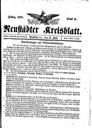 Neustädter Kreisblatt vom 31.07.1879