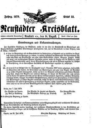 Neustädter Kreisblatt vom 14.08.1879