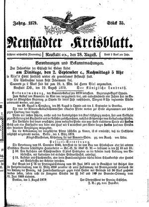 Neustädter Kreisblatt vom 28.08.1879