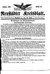 Neustädter Kreisblatt (23.06.1881)