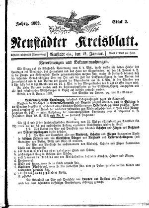 Neustädter Kreisblatt vom 12.01.1882