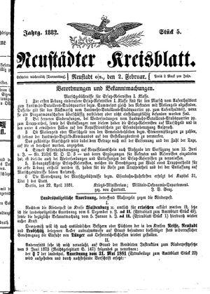 Neustädter Kreisblatt vom 02.02.1882
