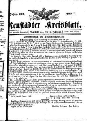 Neustädter Kreisblatt vom 16.02.1882