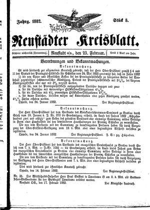 Neustädter Kreisblatt vom 23.02.1882