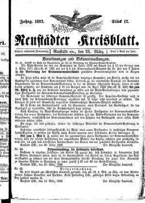 Neustädter Kreisblatt vom 23.03.1882