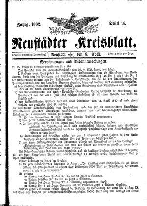 Neustädter Kreisblatt vom 06.04.1882