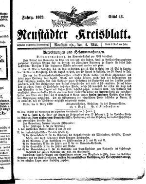 Neustädter Kreisblatt vom 04.05.1882
