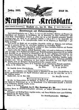 Neustädter Kreisblatt vom 18.05.1882