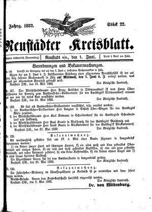 Neustädter Kreisblatt vom 01.06.1882