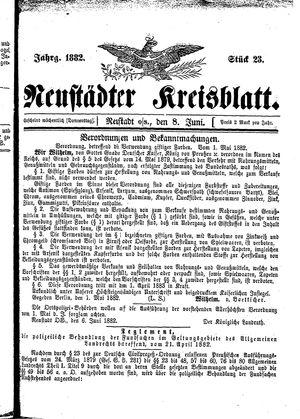 Neustädter Kreisblatt vom 08.06.1882