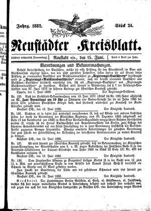 Neustädter Kreisblatt vom 15.06.1882