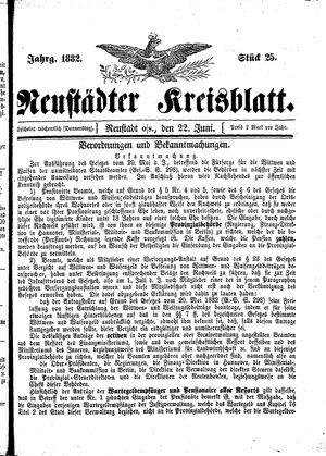 Neustädter Kreisblatt vom 22.06.1882