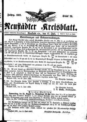 Neustädter Kreisblatt vom 13.07.1882