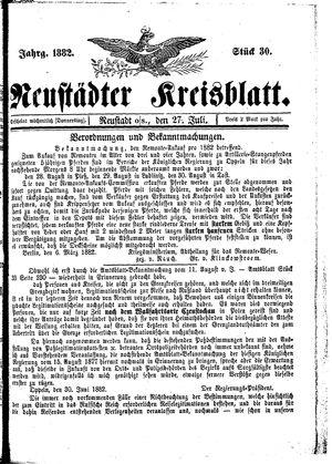 Neustädter Kreisblatt vom 27.07.1882