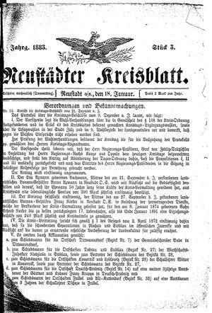 Neustädter Kreisblatt vom 18.01.1883