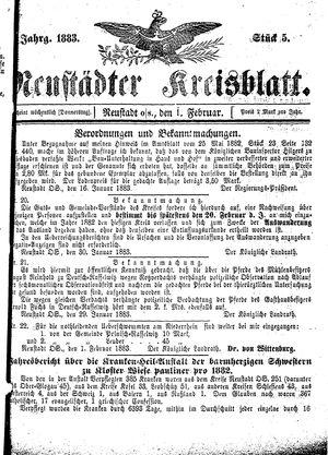 Neustädter Kreisblatt vom 01.02.1883