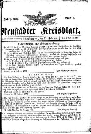 Neustädter Kreisblatt vom 22.02.1883