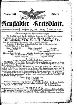 Neustädter Kreisblatt vom 01.03.1883