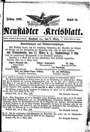 Neustädter Kreisblatt vom 08.03.1883