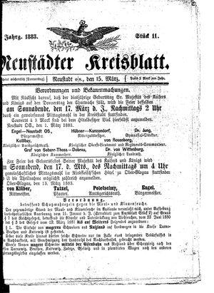 Neustädter Kreisblatt vom 15.03.1883