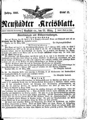 Neustädter Kreisblatt vom 22.03.1883
