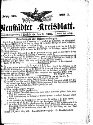 Neustädter Kreisblatt vom 29.03.1883