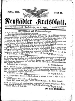 Neustädter Kreisblatt vom 05.04.1883