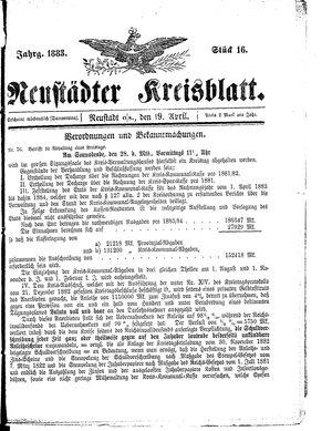 Neustädter Kreisblatt vom 19.04.1883