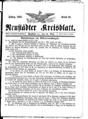 Neustädter Kreisblatt vom 10.05.1883