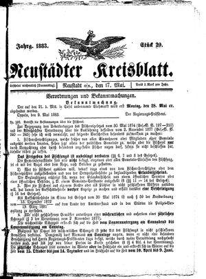 Neustädter Kreisblatt vom 17.05.1883