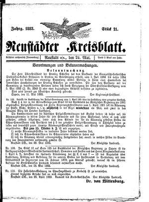 Neustädter Kreisblatt vom 24.05.1883