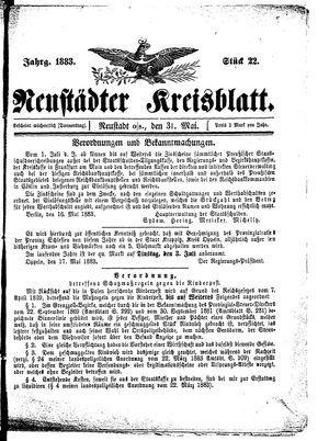 Neustädter Kreisblatt vom 31.05.1883