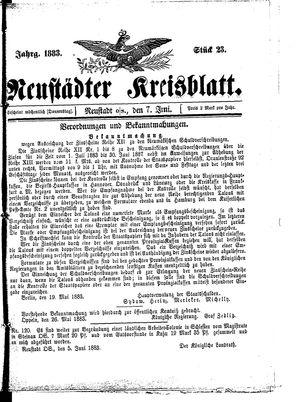 Neustädter Kreisblatt vom 07.06.1883