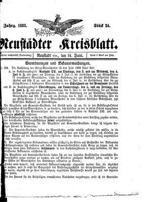 Neustädter Kreisblatt vom 14.06.1883