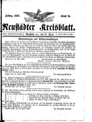 Neustädter Kreisblatt vom 21.06.1883
