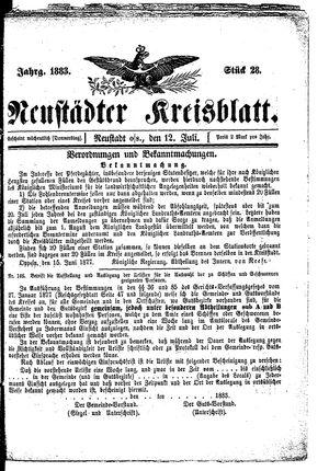 Neustädter Kreisblatt vom 12.07.1883