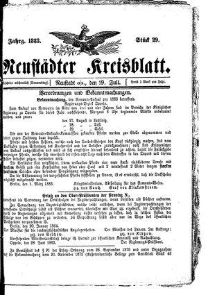 Neustädter Kreisblatt vom 19.07.1883